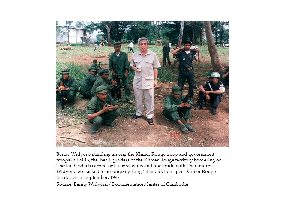 Benny Widyono standing among the Khmer Rouge troop and government troops in Pailin, the head quarters of the Khmer Rouge territory bordering on Thailand which carried out a busy gems and logs trade with Thai traders.