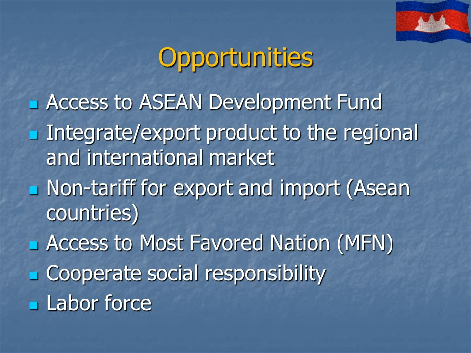 Opportunities Access to ASEAN Development Fund Access to ASEAN Development Fund Integrate/export product to the regional and international market Integrate/export product to the regional and international market Non-tariff for export and import (Asean countries) Non-tariff for export and import (Asean countries) Access to Most Favored Nation (MFN) Access to Most Favored Nation (MFN) Cooperate social responsibility Cooperate social responsibility Labor force Labor force