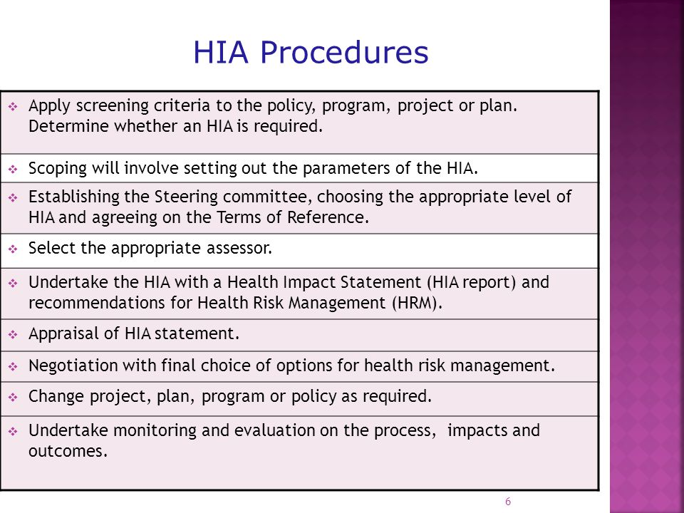  Encourage and assist as required the development of an Association of HIA professionals within the country to further enhance capacity building.