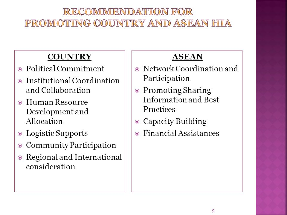 8  Initially assisted by WHO Country office: Draft Policy (2006)  Via National Committee for Environment and Health (NCEH) as National Steering Comm