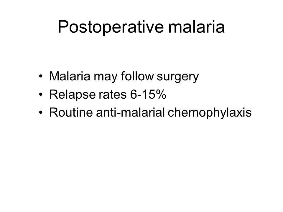 Postoperative malaria Malaria may follow surgery Relapse rates 6-15% Routine anti-malarial chemophylaxis