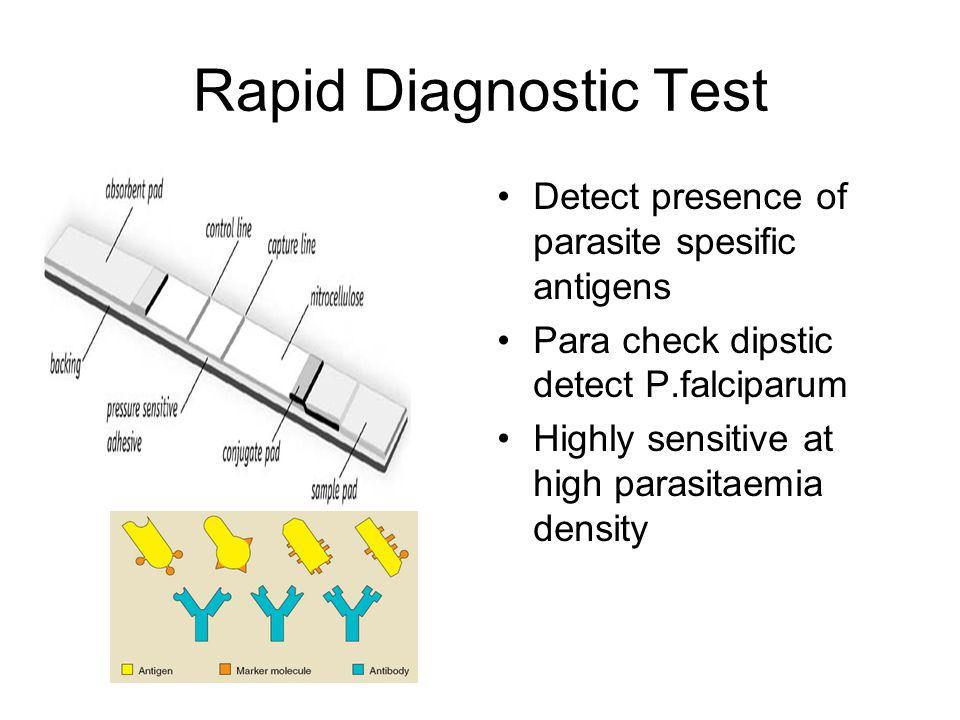 Rapid Diagnostic Test Detect presence of parasite spesific antigens Para check dipstic detect P.falciparum Highly sensitive at high parasitaemia density