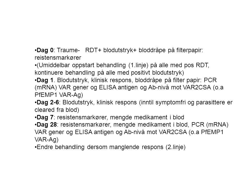 Dag 0: Traume- RDT+ blodutstryk+ bloddråpe på filterpapir: reistensmarkører (Umiddelbar oppstart behandling (1.linje) på alle med pos RDT, kontinuere