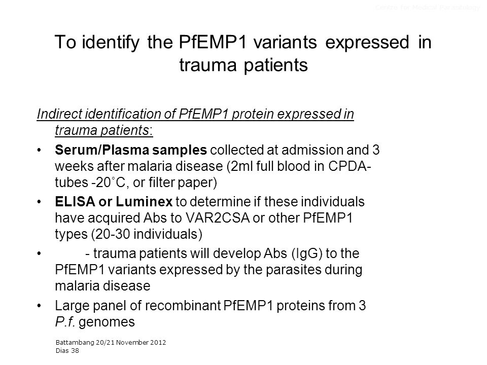 To identify the PfEMP1 variants expressed in trauma patients Indirect identification of PfEMP1 protein expressed in trauma patients: Serum/Plasma samp