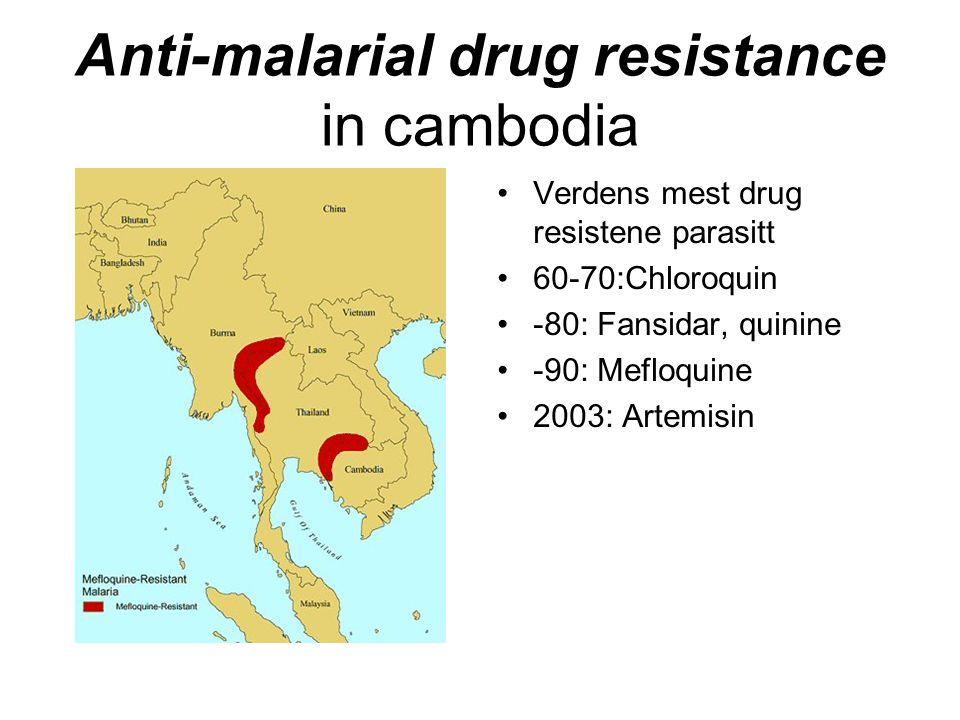 Anti-malarial drug resistance in cambodia Verdens mest drug resistene parasitt 60-70:Chloroquin -80: Fansidar, quinine -90: Mefloquine 2003: Artemisin