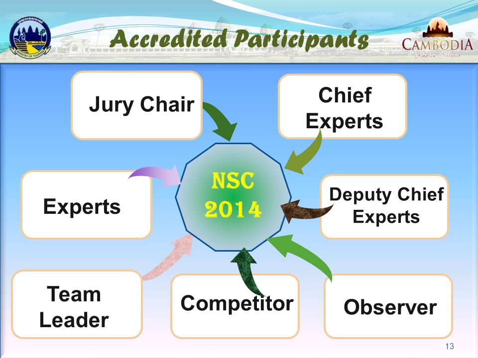 Accredited Participants Experts Deputy Chief Experts Jury Chair Team Leader Chief Experts Observer Competitor NSC 2014 13