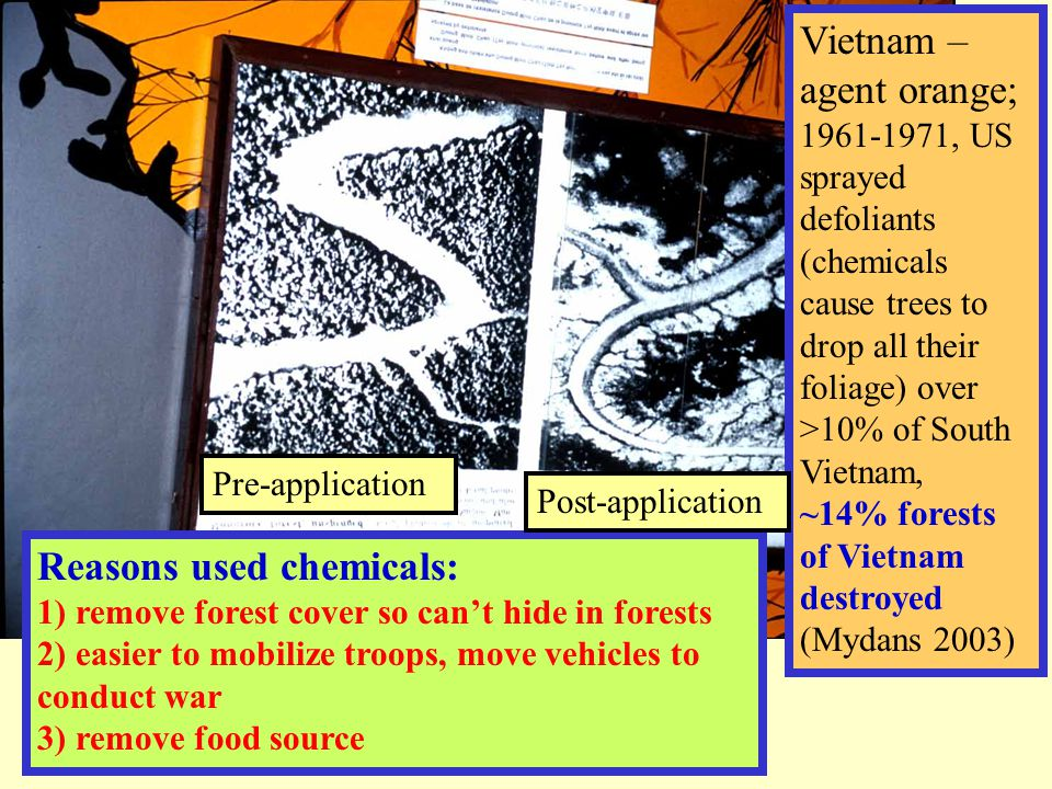 Vietnam – agent orange; 1961-1971, US sprayed defoliants (chemicals cause trees to drop all their foliage) over >10% of South Vietnam, ~14% forests of