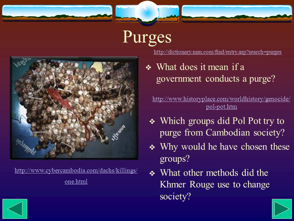 Purges  What does it mean if a government conducts a purge.