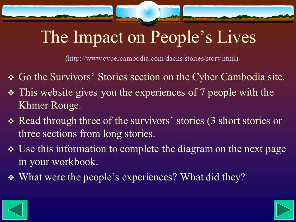 W Chart of Survivors' Experiences What were the people's experiences.