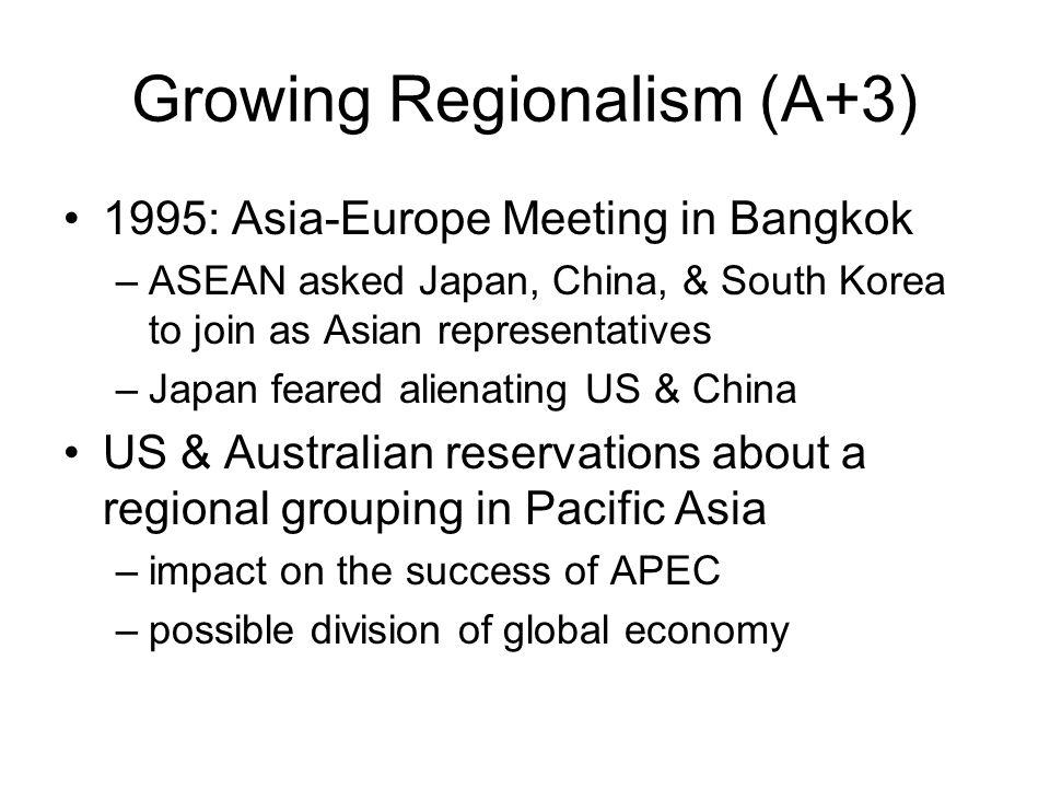 Growing Regionalism (A+3) 1995: Asia-Europe Meeting in Bangkok –ASEAN asked Japan, China, & South Korea to join as Asian representatives –Japan feared