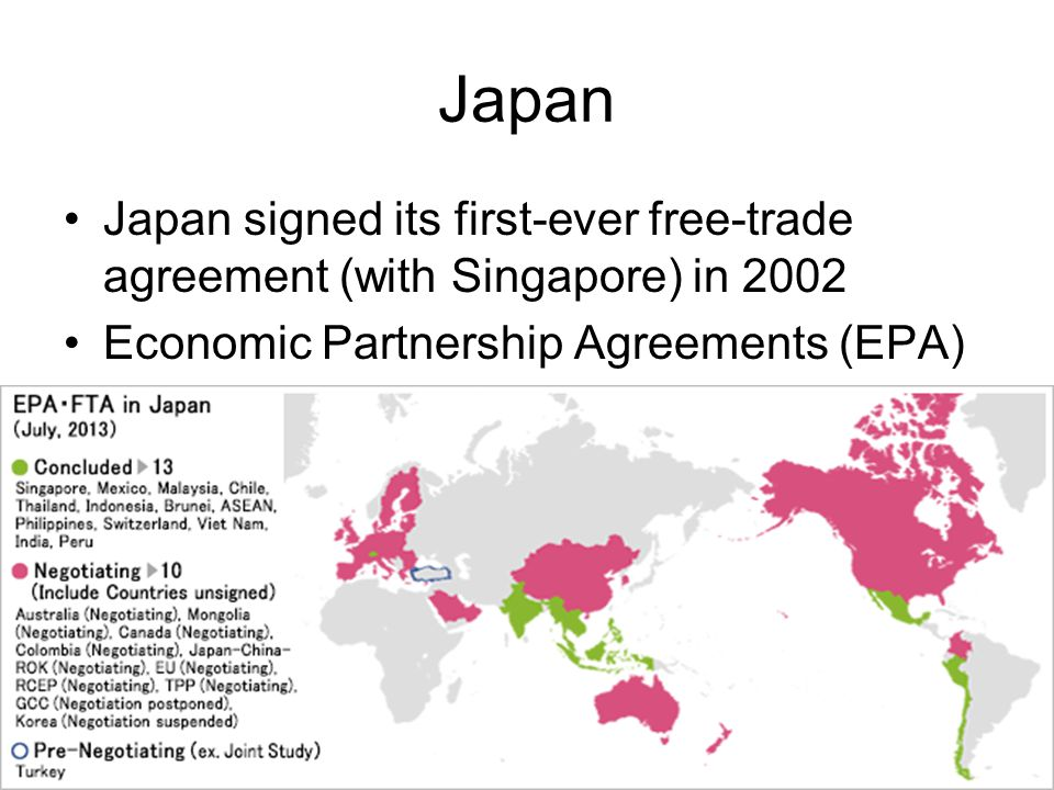 Japan Japan signed its first-ever free-trade agreement (with Singapore) in 2002 Economic Partnership Agreements (EPA)
