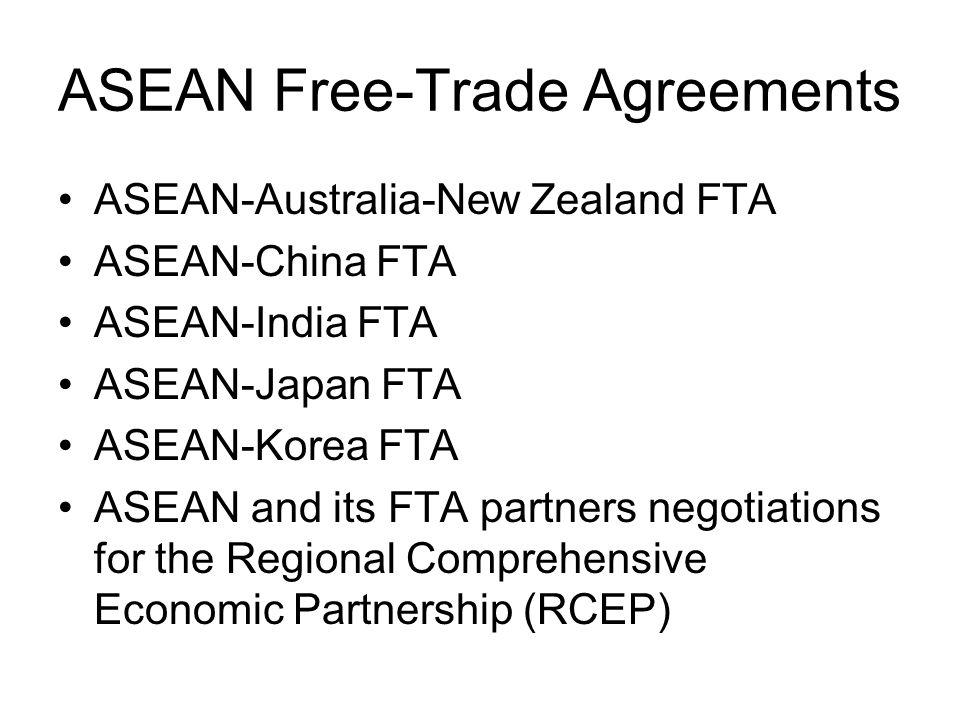ASEAN Free-Trade Agreements ASEAN-Australia-New Zealand FTA ASEAN-China FTA ASEAN-India FTA ASEAN-Japan FTA ASEAN-Korea FTA ASEAN and its FTA partners