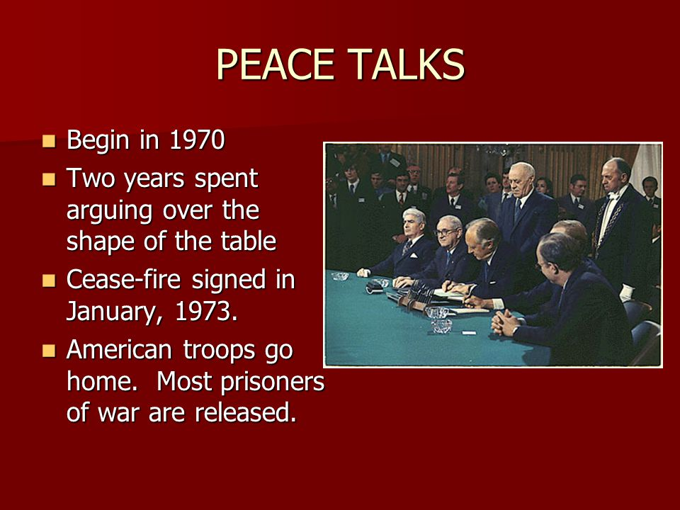 PEACE TALKS Begin in 1970 Begin in 1970 Two years spent arguing over the shape of the table Two years spent arguing over the shape of the table Cease-