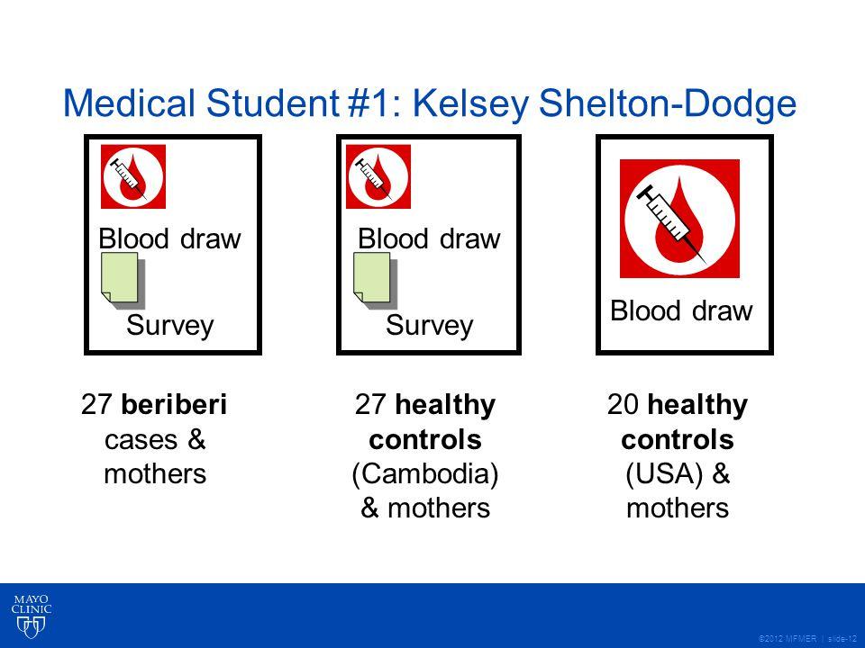 ©2012 MFMER | slide-12 Medical Student #1: Kelsey Shelton-Dodge 27 beriberi cases & mothers 27 healthy controls (Cambodia) & mothers 20 healthy controls (USA) & mothers Blood draw Survey