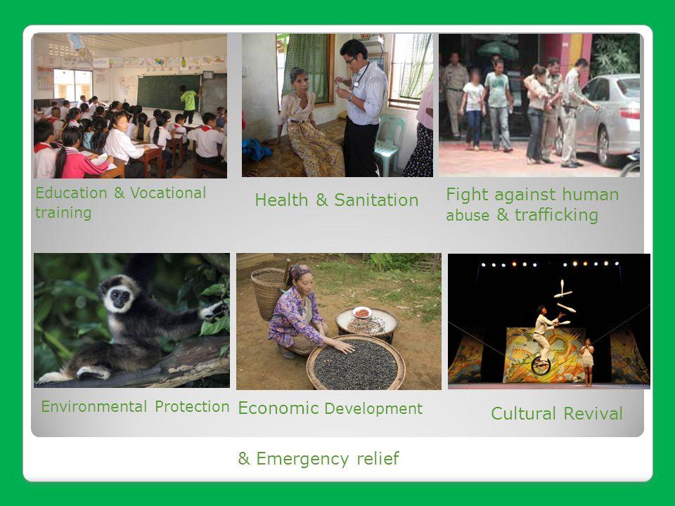Education & Vocational training Economic Development Environmental Protection Fight against human abuse & trafficking Health & Sanitation Cultural Rev