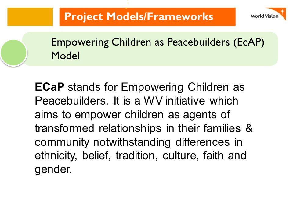 Contextualization of EcAP Model: Initiatives in the WV Partnership WV-Cambodia Peace Road Programme ( Using the Peace Road Curriculum developed by WV Cambodia in partnership with the MoEYs Curriculum department WV-Philippines EcAP (Empowering Children as Peacebuilders) thru developing Culture of Peace (CoP) Program