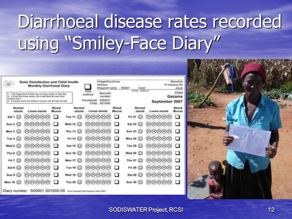 Diarrhoeal disease rates recorded using Smiley-Face Diary SODISWATER Project, RCSI12