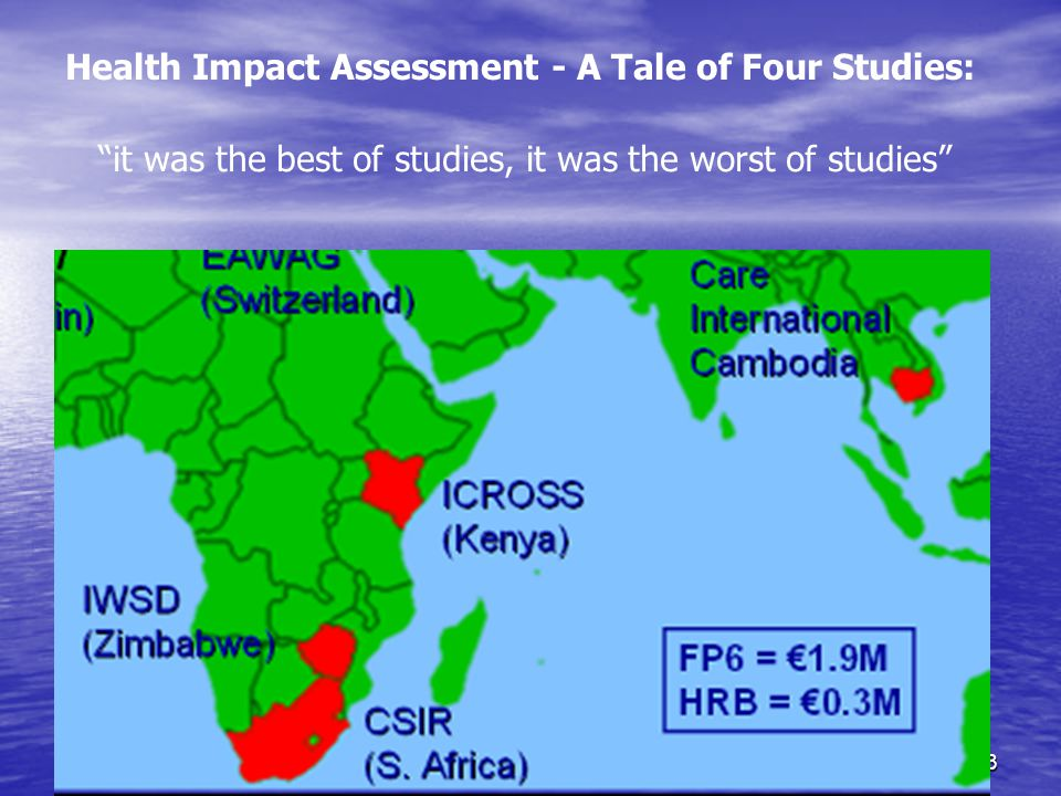 SODISWATER Project, RCSI13 Health Impact Assessment - A Tale of Four Studies: it was the best of studies, it was the worst of studies