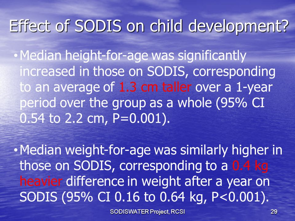 Effect of SODIS on child development? SODISWATER Project, RCSI 29 Median height-for-age was significantly increased in those on SODIS, corresponding t