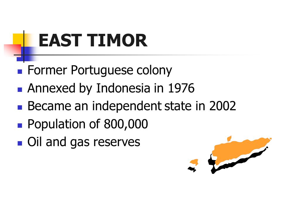 EAST TIMOR Former Portuguese colony Annexed by Indonesia in 1976 Became an independent state in 2002 Population of 800,000 Oil and gas reserves