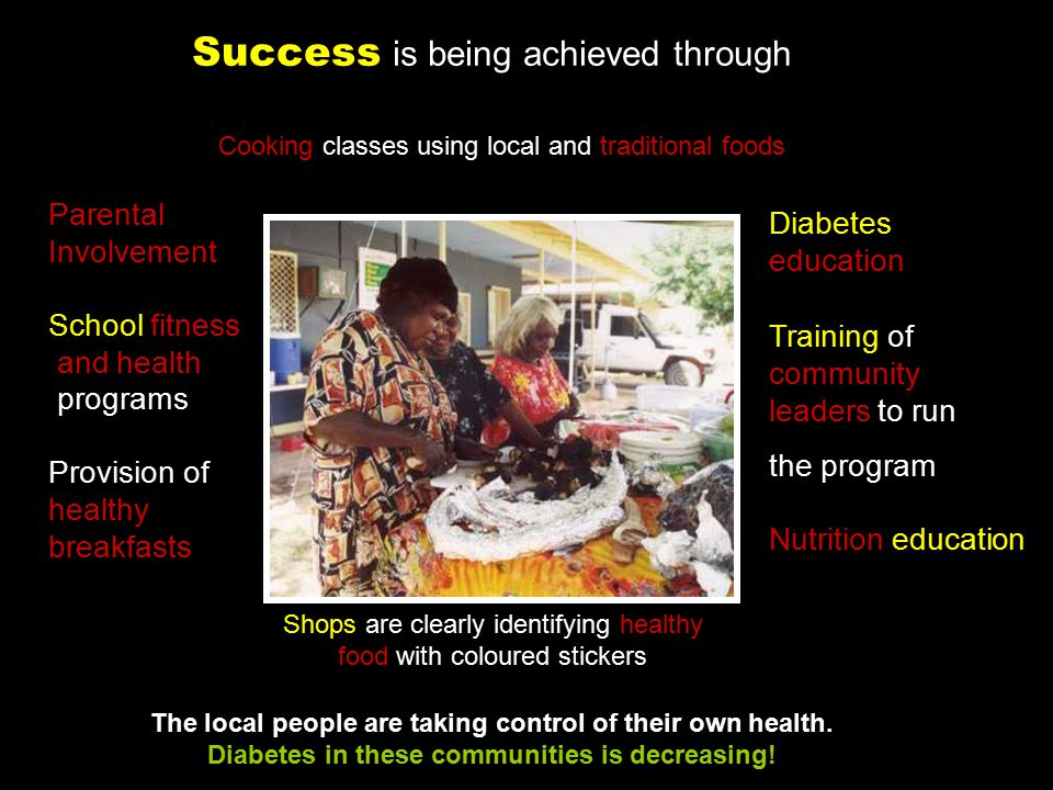 The local people are taking control of their own health. Diabetes in these communities is decreasing! Parental Involvement School fitness and health p