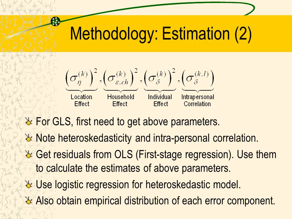 Methodology: Estimation (2) For GLS, first need to get above parameters. Note heteroskedasticity and intra-personal correlation. Get residuals from OL