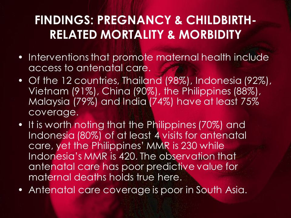 FINDINGS: PREGNANCY & CHILDBIRTH- RELATED MORTALITY & MORBIDITY Interventions that promote maternal health include access to antenatal care. Of the 12
