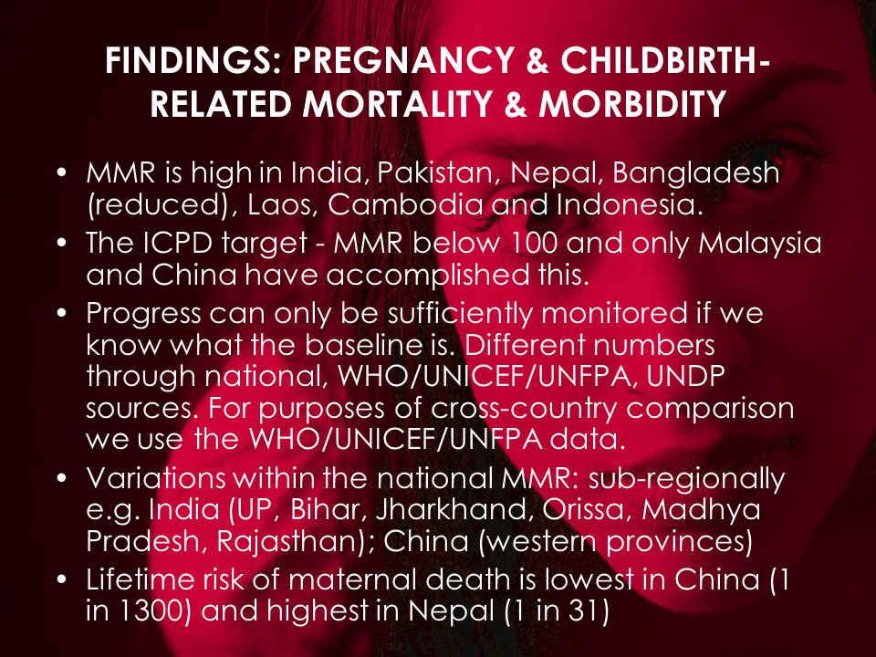 FINDINGS: PREGNANCY & CHILDBIRTH- RELATED MORTALITY & MORBIDITY MMR is high in India, Pakistan, Nepal, Bangladesh (reduced), Laos, Cambodia and Indone