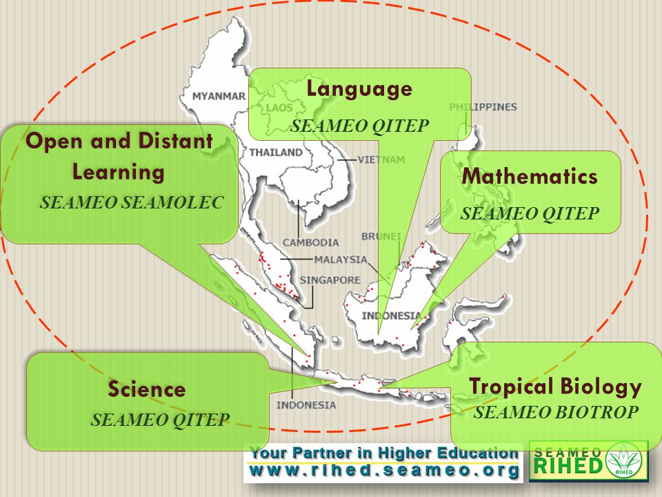 Open and Distant Learning SEAMEO SEAMOLEC Open and Distant Learning SEAMEO SEAMOLEC Science SEAMEO QITEP Science SEAMEO QITEP Language SEAMEO QITEP Mathematics SEAMEO QITEP Tropical Biology SEAMEO BIOTROP