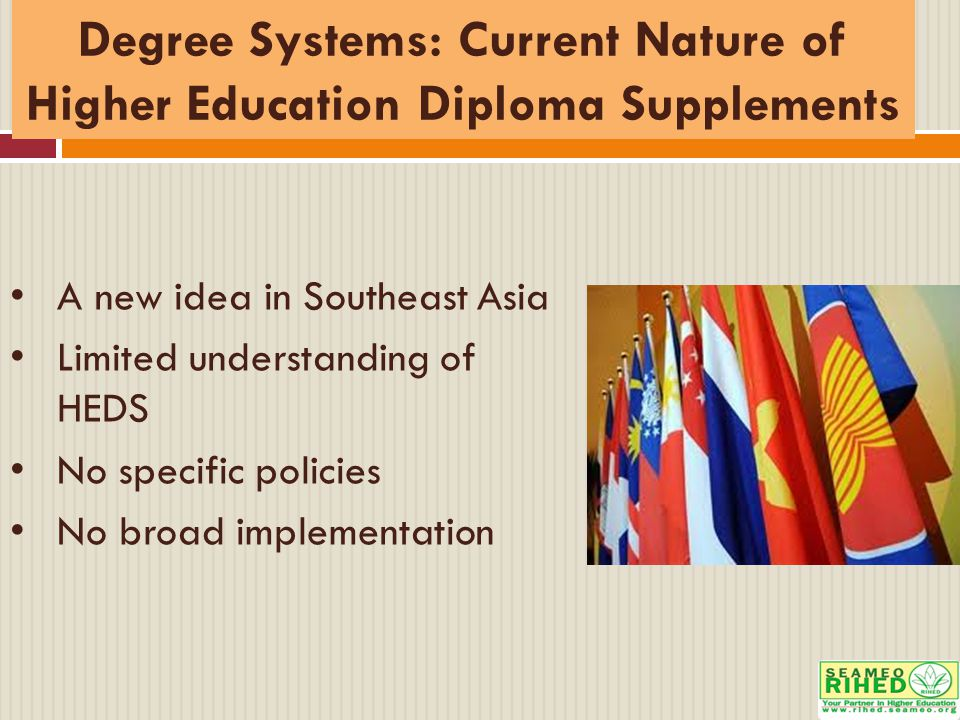 Degree Systems: Current Nature of Higher Education Diploma Supplements A new idea in Southeast Asia Limited understanding of HEDS No specific policies No broad implementation