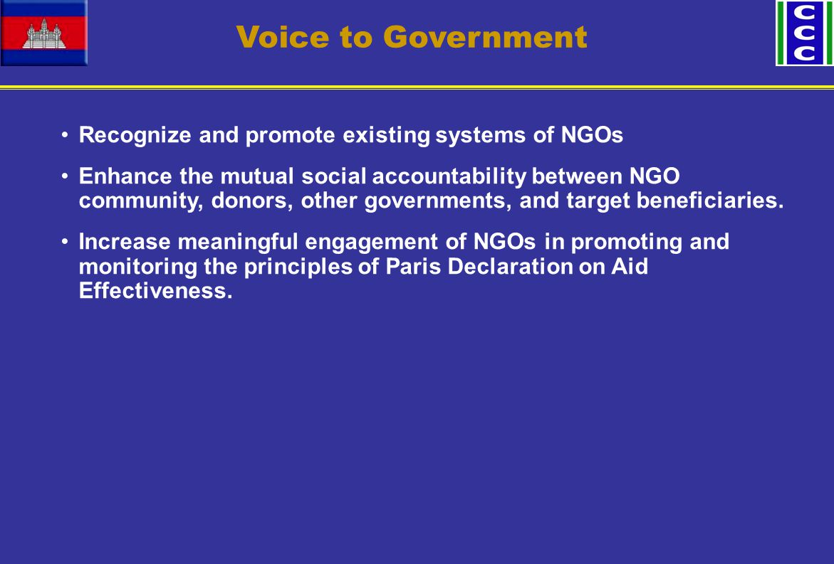 Voice to Government Recognize and promote existing systems of NGOs Enhance the mutual social accountability between NGO community, donors, other governments, and target beneficiaries.