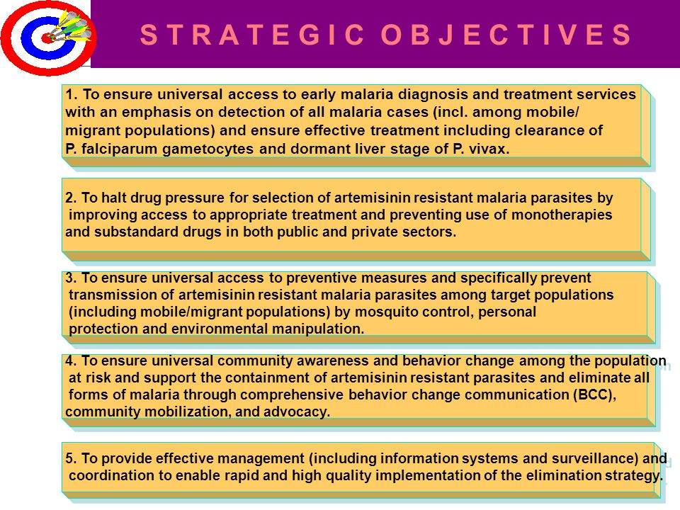 1. To ensure universal access to early malaria diagnosis and treatment serviceswith an emphasis on detection of all malaria cases (incl. among mobile/