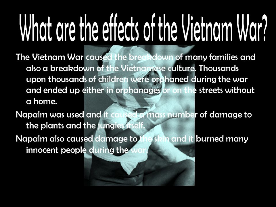 The Vietnam War caused the breakdown of many families and also a breakdown of the Vietnamese culture.