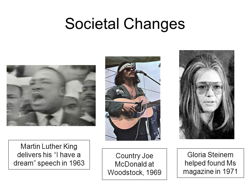 Societal Changes Country Joe McDonald at Woodstock, 1969 Martin Luther King delivers his I have a dream speech in 1963 Gloria Steinem helped found Ms magazine in 1971