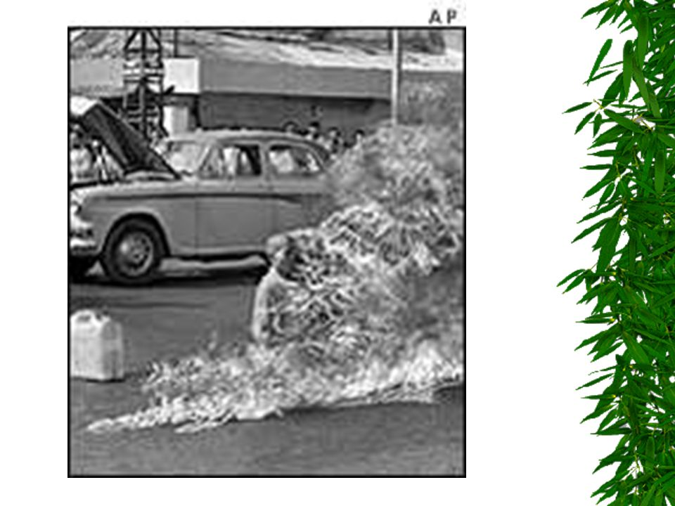 Buddhist protests  Diem is Catholic and limits rights of Buddhists  Most of the South believes in Buddhism  Buddhist monks burn themselves in protest 1963 in the streets of Saigon  Diem has hundreds arrested and Buddhist temples destroyed