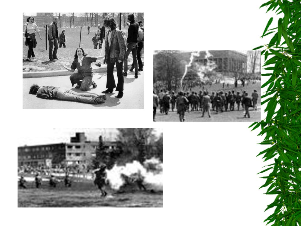 Kent State  In Ohio  May 4, 1970  National Guard fired on a crowd of student protestors throwing rocks at them  9 wounded 4 killed