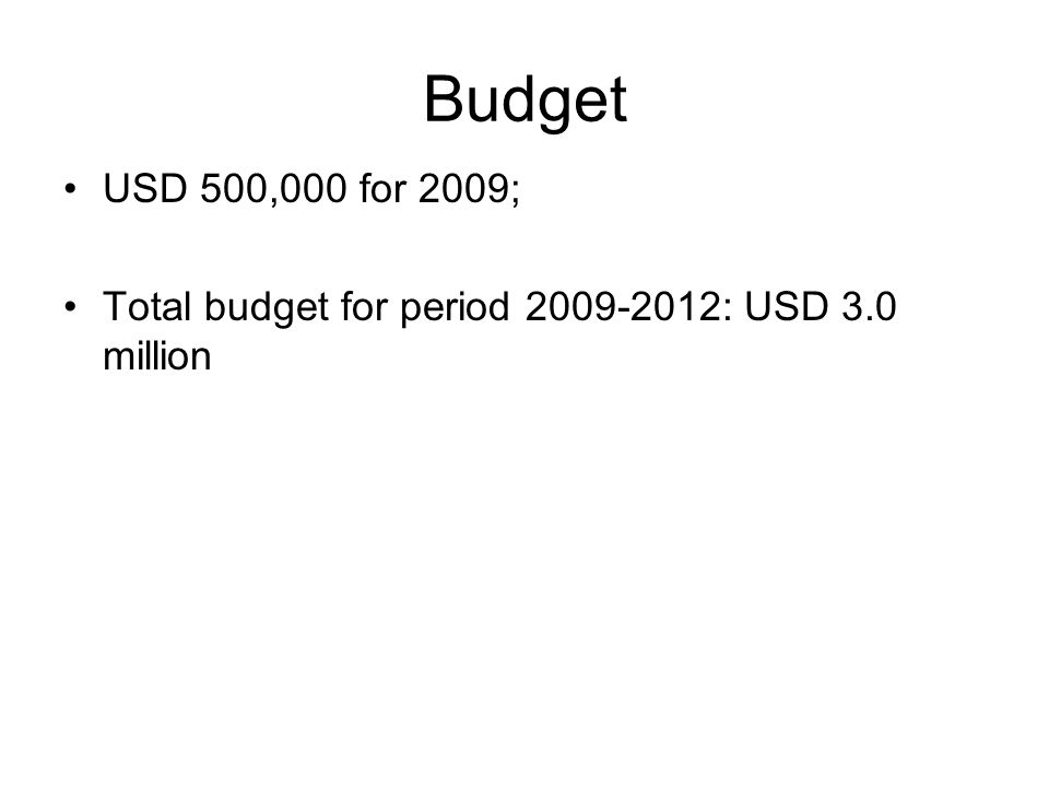 Budget USD 500,000 for 2009; Total budget for period 2009-2012: USD 3.0 million