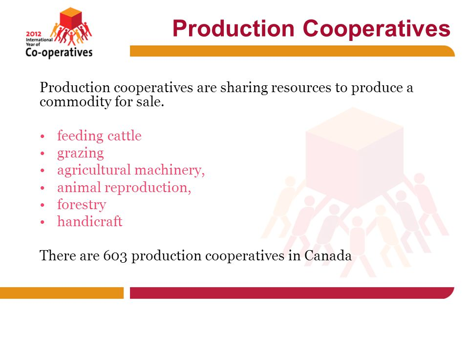 Production Cooperatives Production cooperatives are sharing resources to produce a commodity for sale.