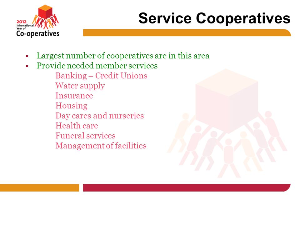 Service Cooperatives Largest number of cooperatives are in this area Provide needed member services Banking – Credit Unions Water supply Insurance Housing Day cares and nurseries Health care Funeral services Management of facilities