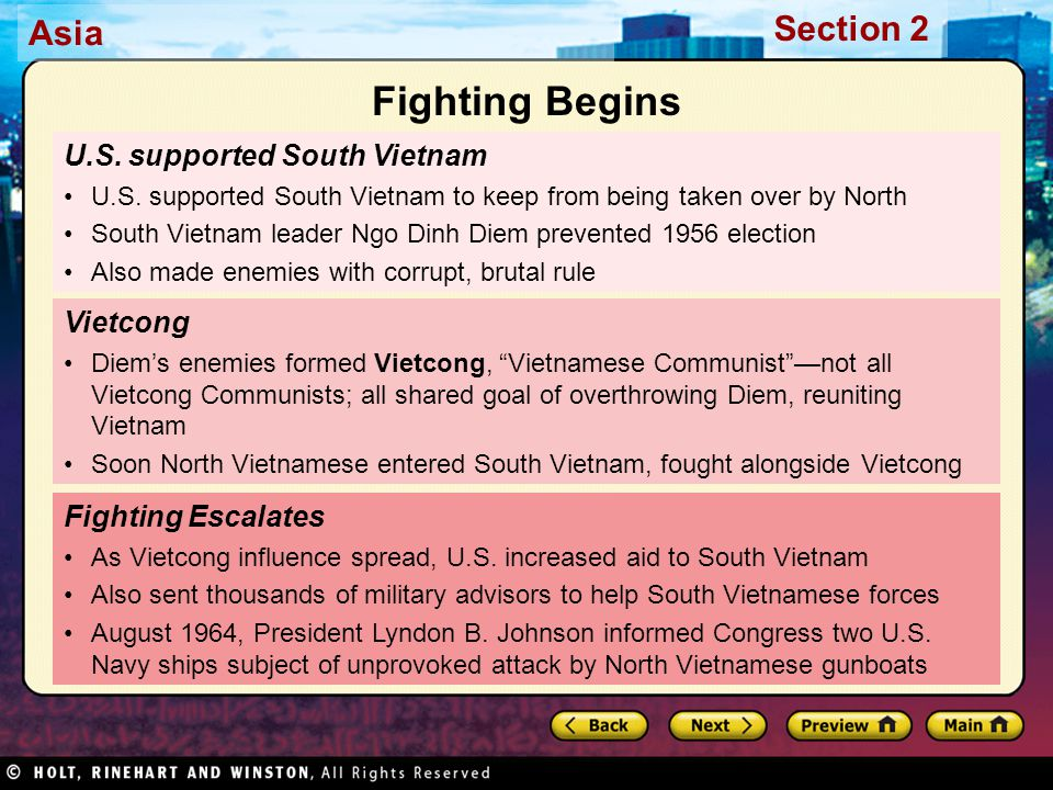 Asia Section 2 U.S. supported South Vietnam U.S. supported South Vietnam to keep from being taken over by North South Vietnam leader Ngo Dinh Diem pre