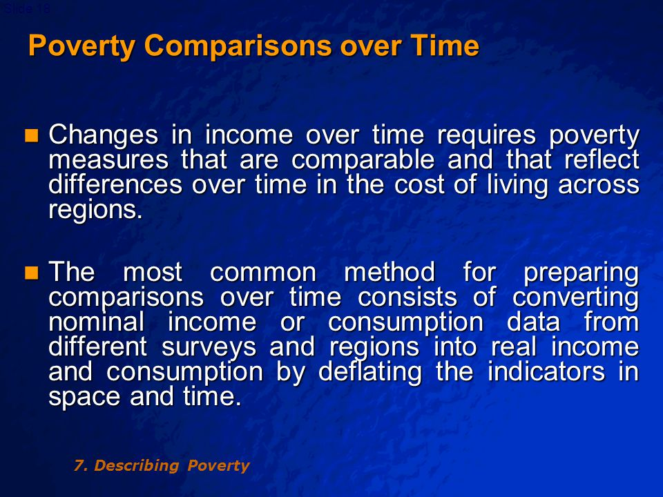 © 2003 By Default!Slide 18 Poverty Comparisons over Time Poverty Comparisons over Time Changes in income over time requires poverty measures that are comparable and that reflect differences over time in the cost of living across regions.