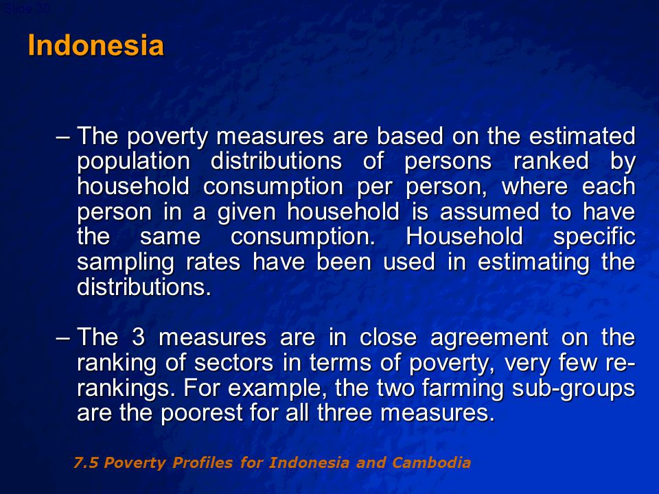 © 2003 By Default!Slide 30 Indonesia Indonesia –The poverty measures are based on the estimated population distributions of persons ranked by household consumption per person, where each person in a given household is assumed to have the same consumption.
