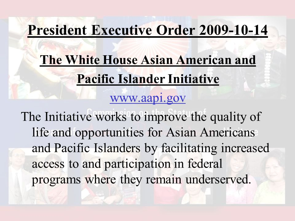 The White House Asian American and Pacific Islander Initiative www.aapi.gov The Initiative works to improve the quality of life and opportunities for Asian Americans and Pacific Islanders by facilitating increased access to and participation in federal programs where they remain underserved.