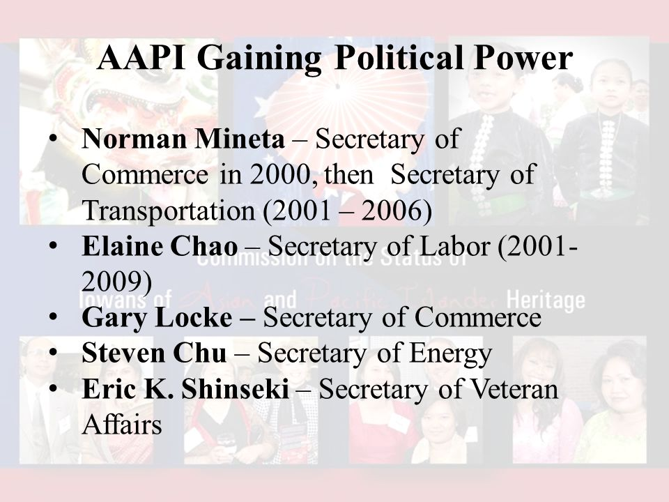 Norman Mineta – Secretary of Commerce in 2000, then Secretary of Transportation (2001 – 2006) Elaine Chao – Secretary of Labor (2001- 2009) Gary Locke – Secretary of Commerce Steven Chu – Secretary of Energy Eric K.