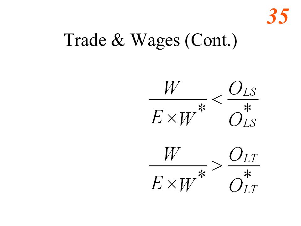 36 Trade & Wages (Cont.) A's relative wage must not exceed its relative productivity in its comparative advantage good.