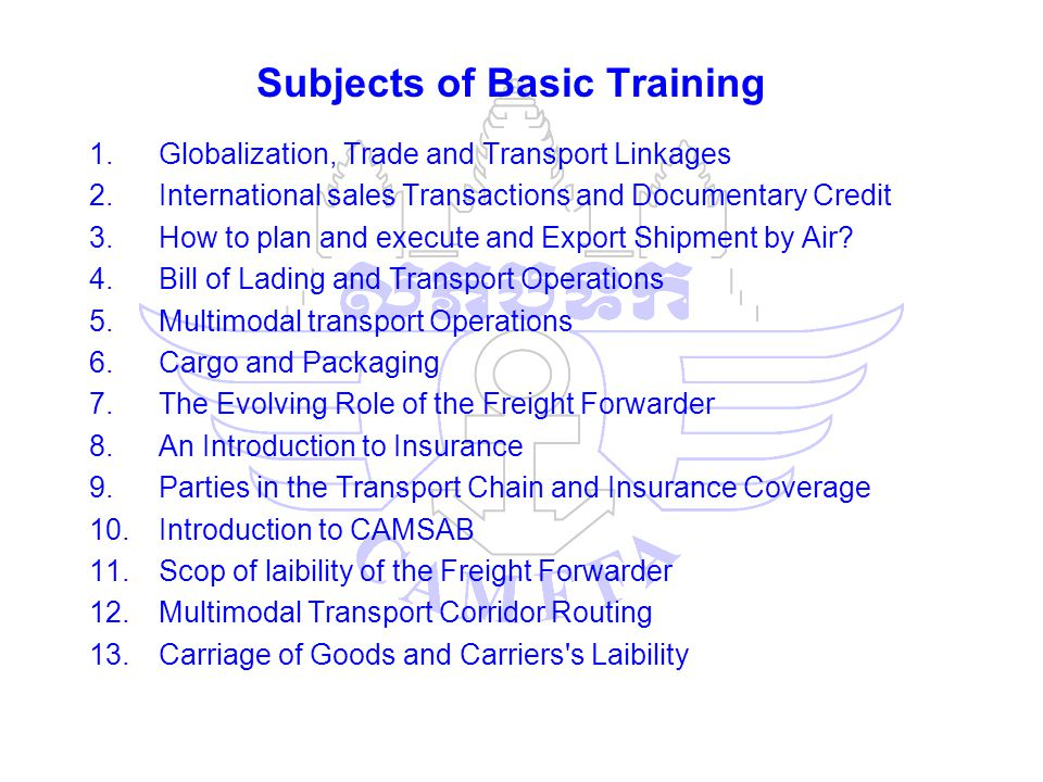 Subjects of Basic Training 1.Globalization, Trade and Transport Linkages 2.International sales Transactions and Documentary Credit 3.How to plan and e