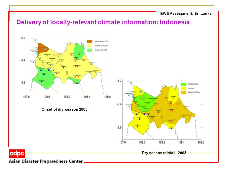 EWS Assessment: Sri Lanka Delivery of locally-relevant climate information: Indonesia Onset of dry season 2003 Dry season rainfall, 2003