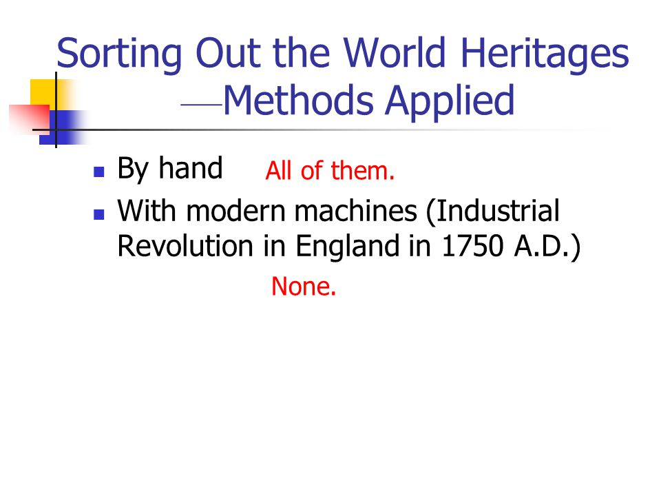 Sorting Out the World Heritages –– Methods Applied By hand With modern machines (Industrial Revolution in England in 1750 A.D.) All of them. None.