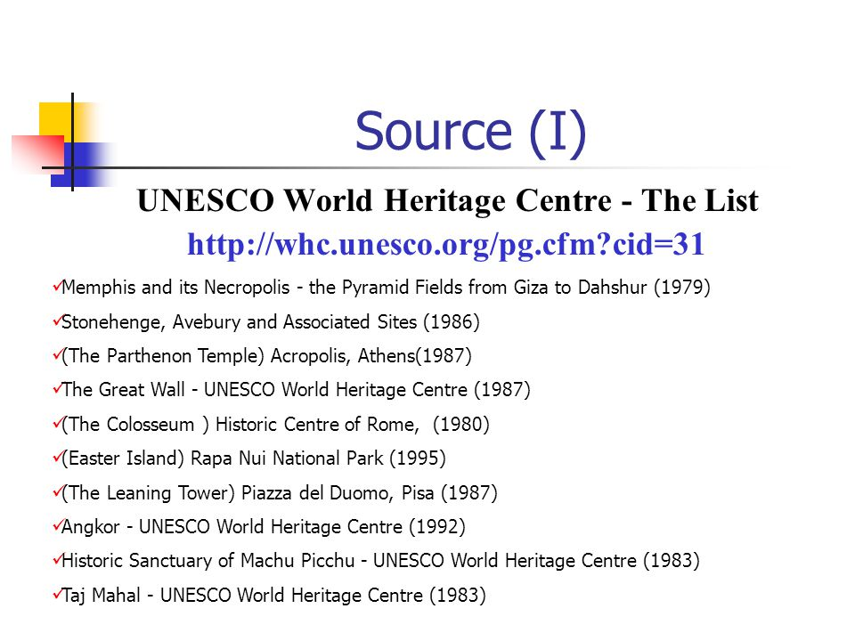 Source (I) UNESCO World Heritage Centre - The List http://whc.unesco.org/pg.cfm?cid=31 Memphis and its Necropolis - the Pyramid Fields from Giza to Da