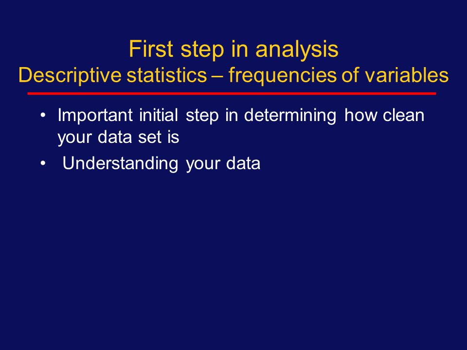Topics to be covered - 1 1.Basic descriptive statistics  Types of variables (2): Categorical (dichotomous) Continuous variables  Proportions /percents – categorical  Means, medians – continuous Standard deviations, range, confidence intervals